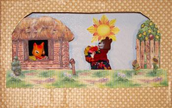Плоские картонные декорации домиков и избушек. Мастер-класс Олеси Емельяновой